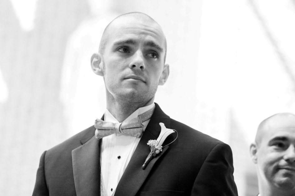 groom is emotional when he sees his bride for the first time