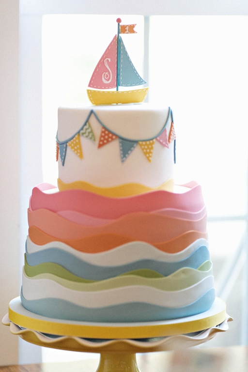 11 Tim Riddick Photography Lemonade Design Studio Bellwether Events Row Row Row Your Boat Nautical pastel rainbow first birthday party Charm City Cakes Baltimore fondant