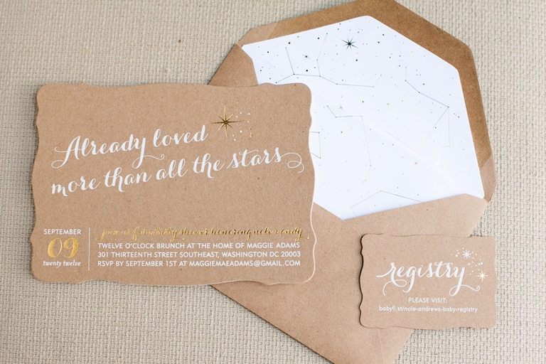 02 The Observatory Bellwether Events Baby Shower constellation stars Sugar Paper kraft gold white