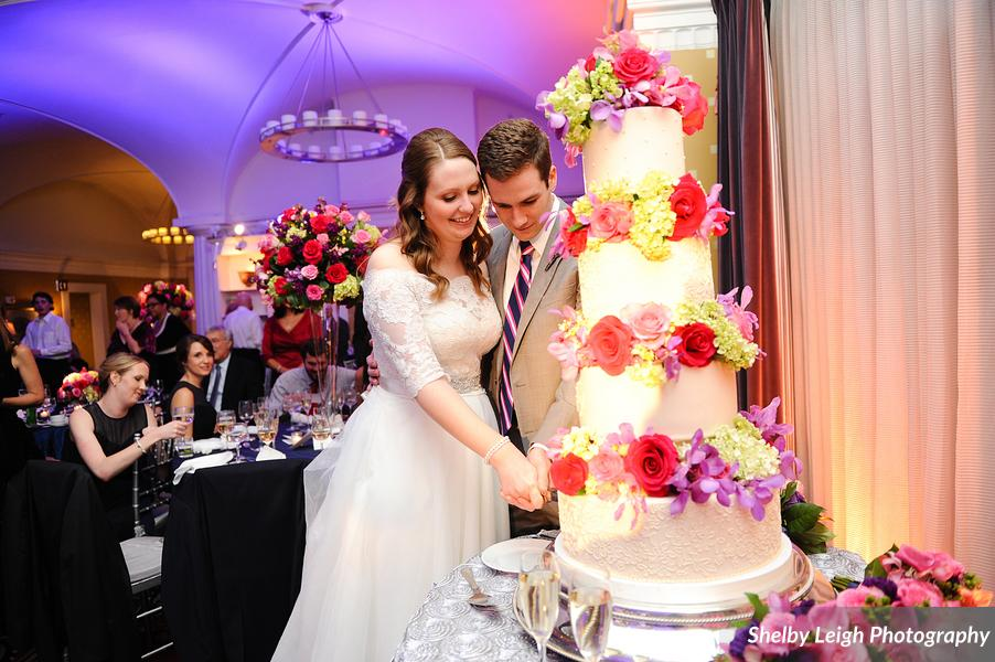 Hotel Monaco DC wedding - towering wedding cake
