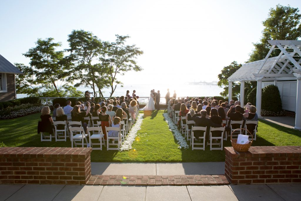 Chesapeake Bay Beach Club wedding ceremony waterfront