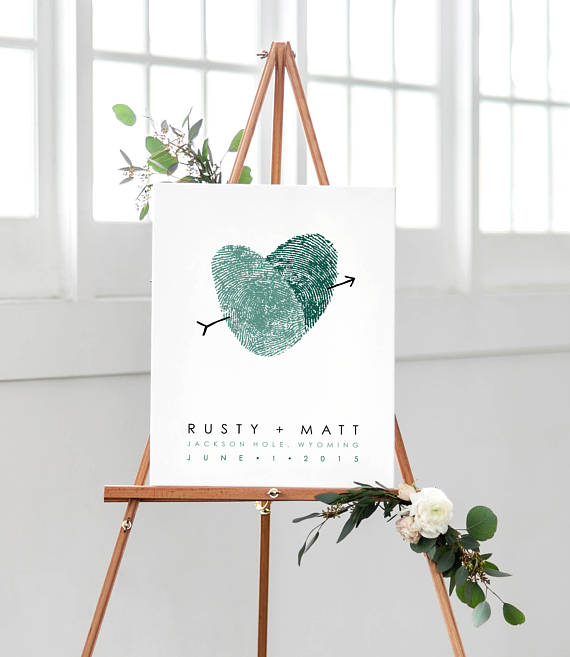 wedding guest book idea thumb print art