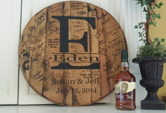 wedding guest book idea bourbon barrel top