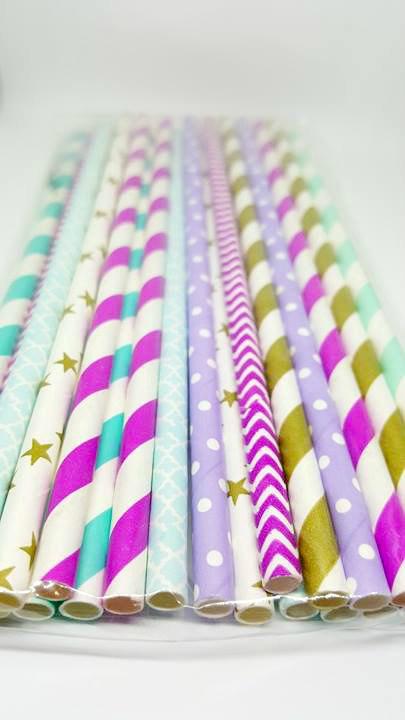 Aladdin theme party paper straws