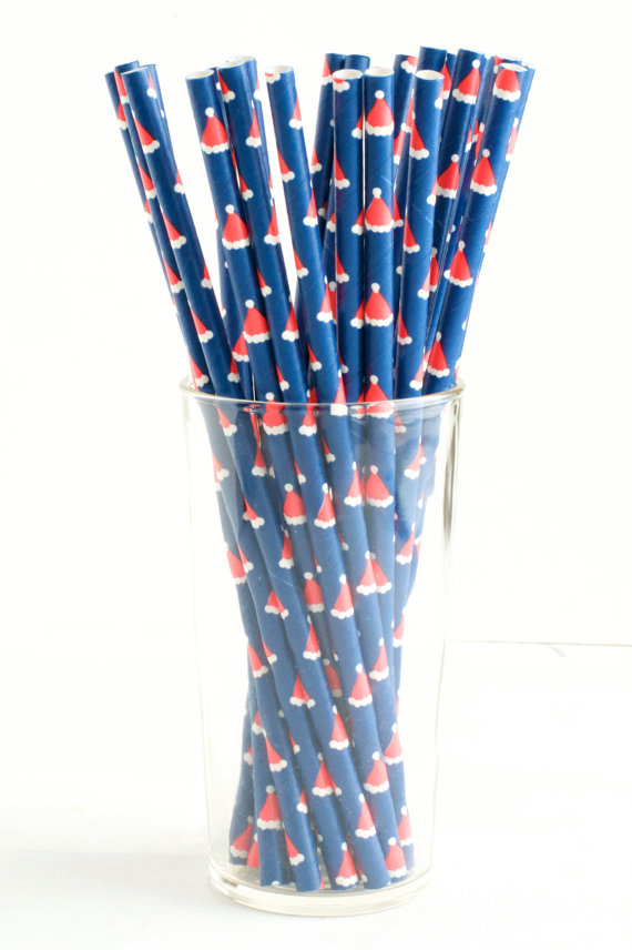 christmas theme party paper straws