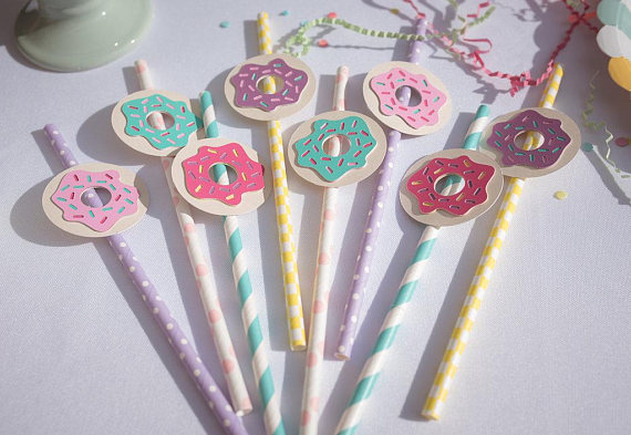 donut theme party paper straws