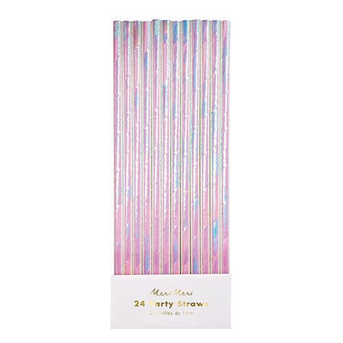 iridescent theme party paper straws