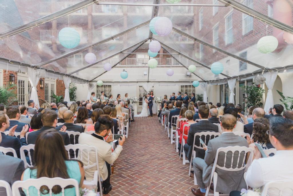 The Alexandria Hotel wedding ceremony courtyard