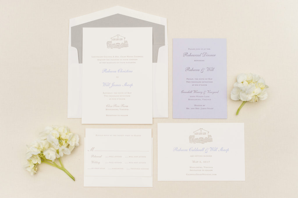 Ivory and lavender wedding invitation