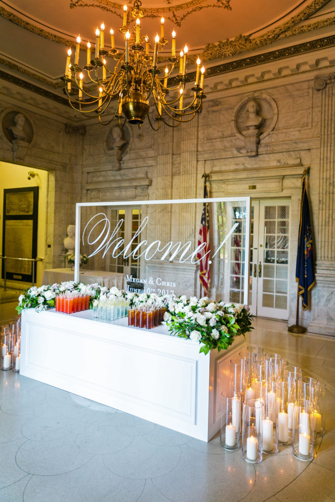 DAR wedding by top DC wedding planner Bellwether Events - Pennsylvania Foyer welcome station