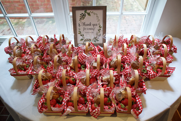 A classy, neutral baby shower in Alexandria VA - strawberry shortcake picnic favor
