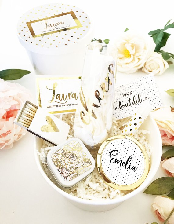 Bridesmaid Proposal Ideas - gold gift box