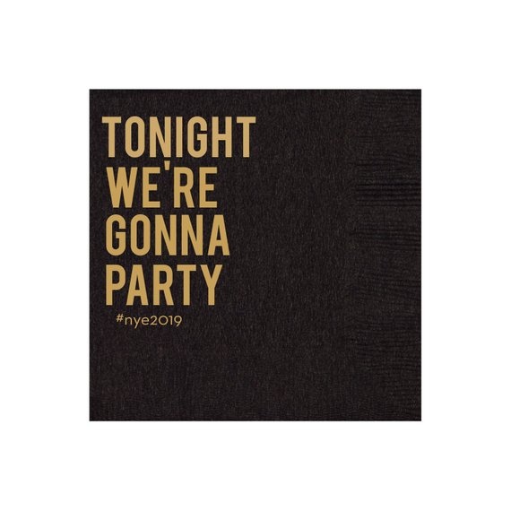 New Years Eve Party Ideas - black and gold napkins