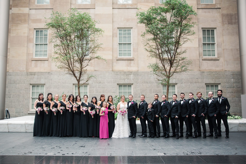 National Portrait Gallery wedding Washington DC lage wedding party black and white and pink - advice - Wedding Tasks You can do from Home now