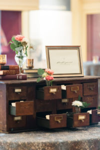 Peabody Library Wedding card catalog escort cards