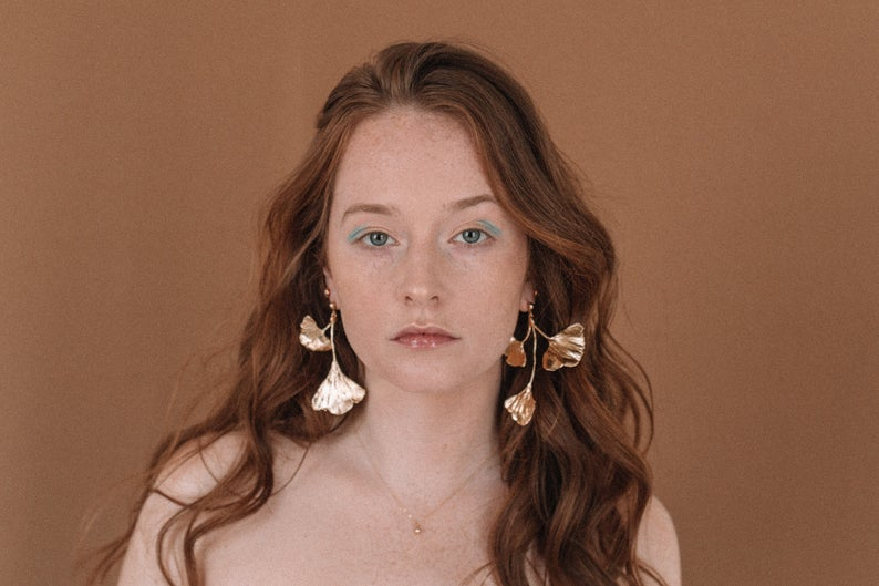 gift idea for women over $100:  gold leaf earrings