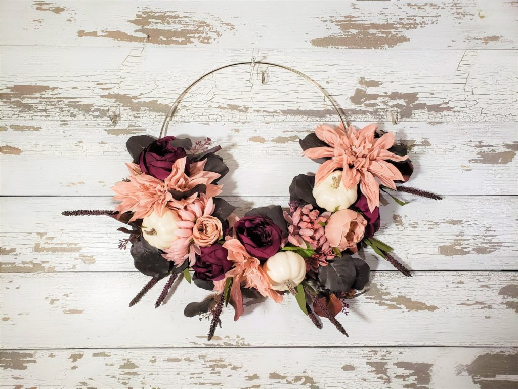 Modern blush and burgundy silk floral wreath for fall