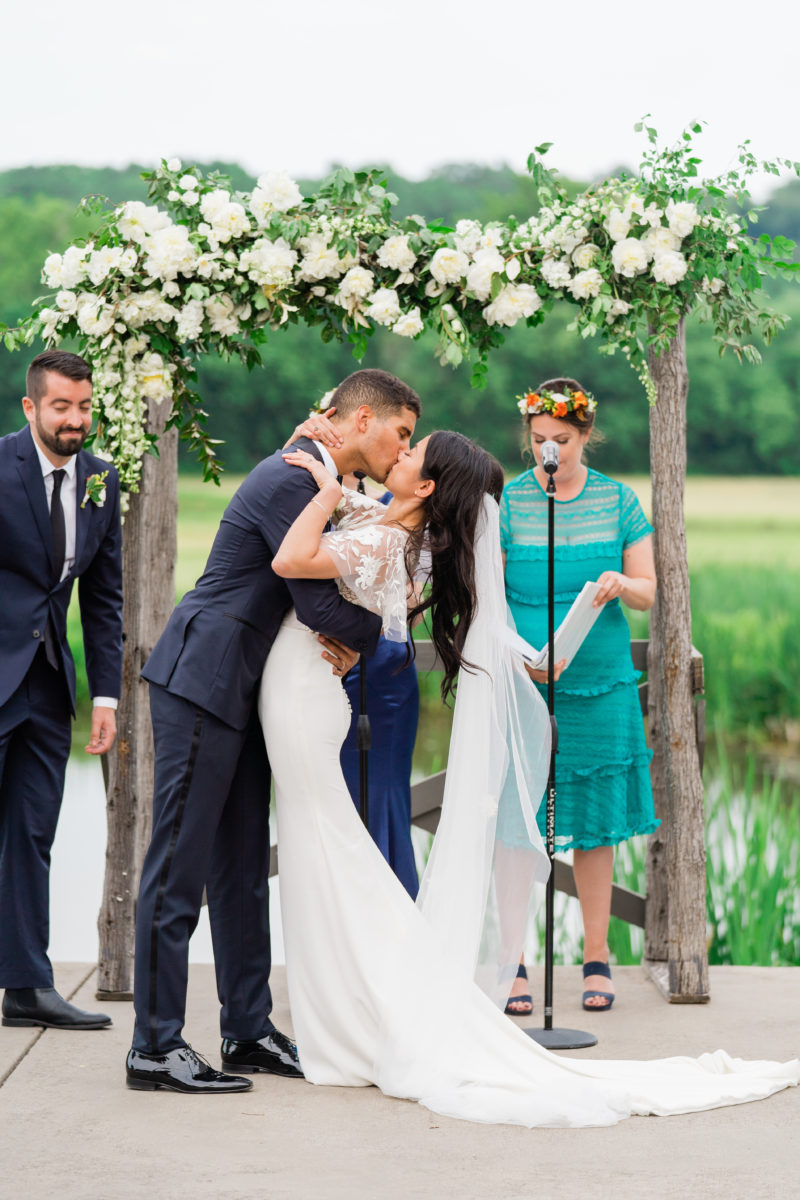 Riverside on the Potomac wedding- Bellwether Events - ceremony first kiss