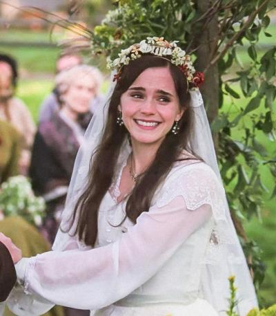Emma Watson as Meg in LIttle Women, at her wedding to Mr. John Brooke