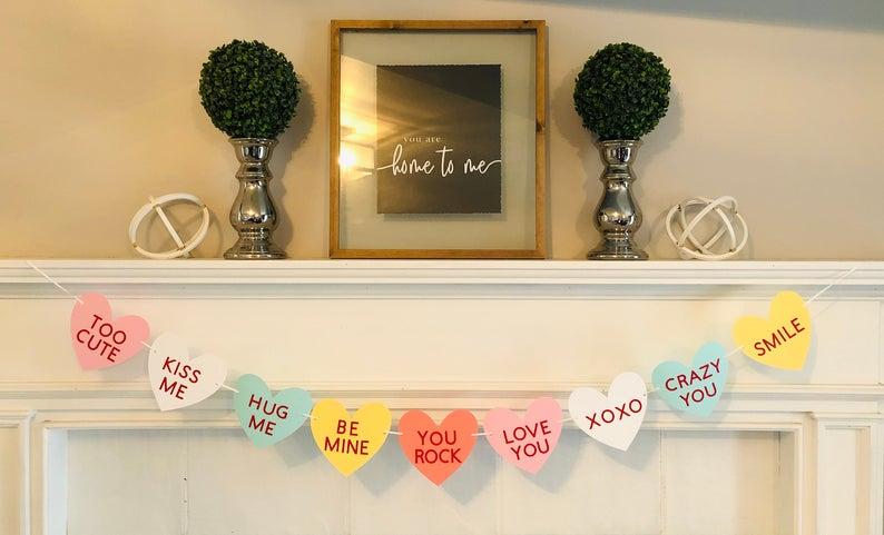 valentines decor conversation hearts banner bunting