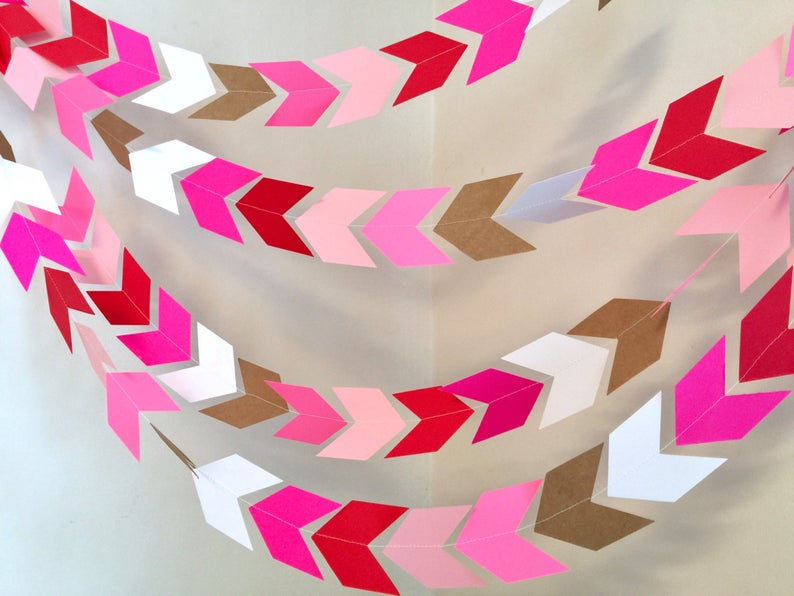valentines decor modern arrow bunting banner