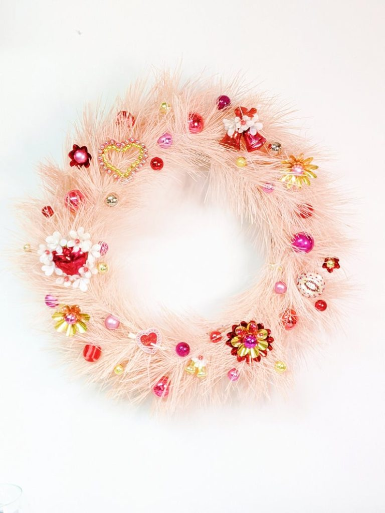 valentines decor vintage pink wreath