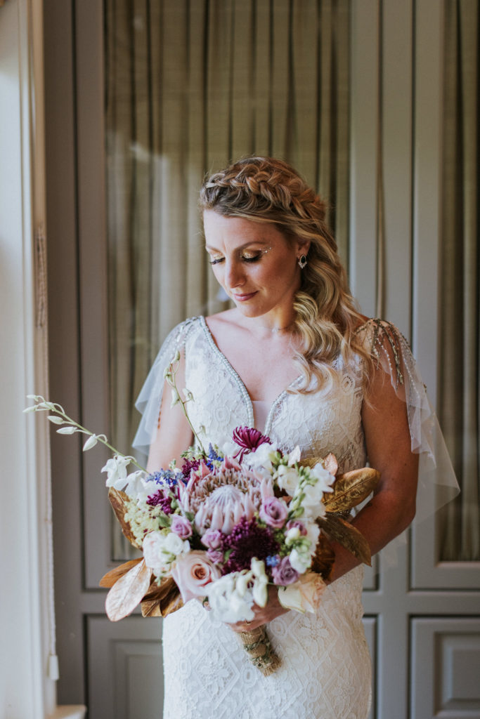 Private at-home wedding bridal bouquet colorful boho