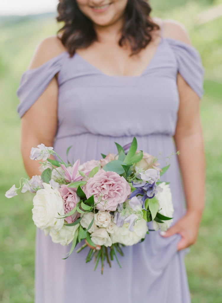 Veritas Vineyards wedding bridesmaid bouquet white with lavender Charlottesville VA