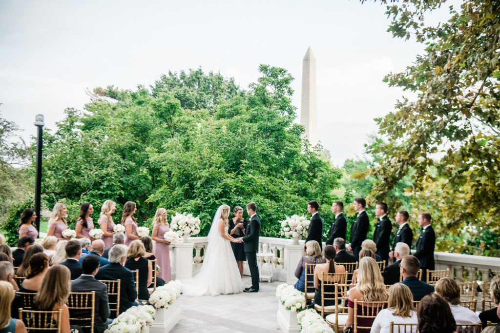 DAR DC wedding ceremony outside on the Terrace