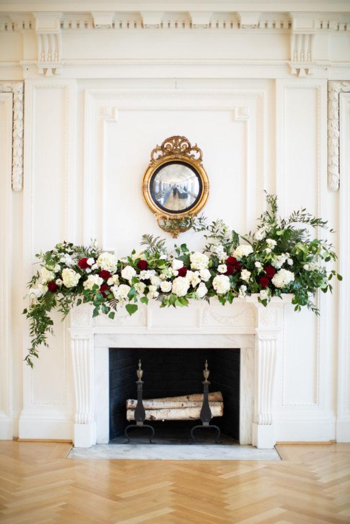 DAR DC wedding fireplace decor