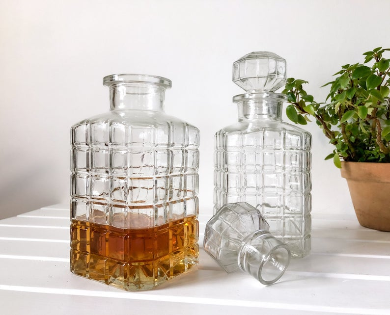 add a vintage decanter to the bookshelf in y our Zoom Room