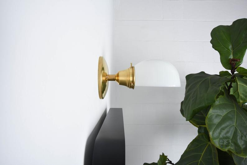 lighting fixture gifts - industrial  brass wall light