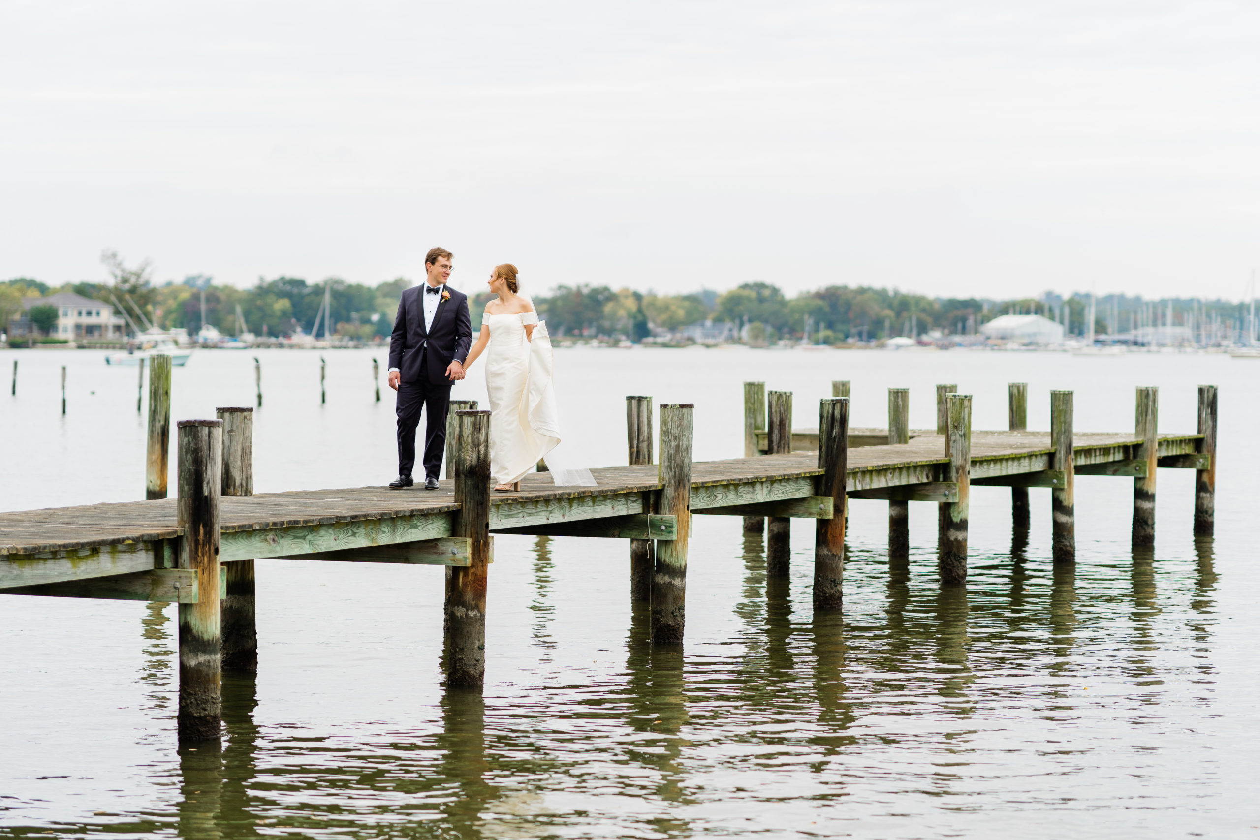 private home pier wedding portrait - Waterfront Wedding Southern Maryland Bellwether Events Kurstin Roe Photography Sugarplum Tent Co
