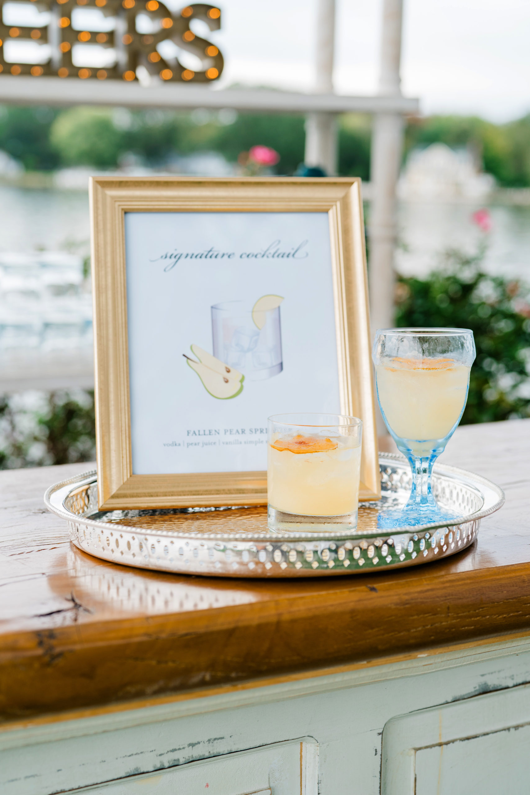 siganture cocktail sign - Waterfront Wedding Southern Maryland Bellwether Events Kurstin Roe Photography Sugarplum Tent Co