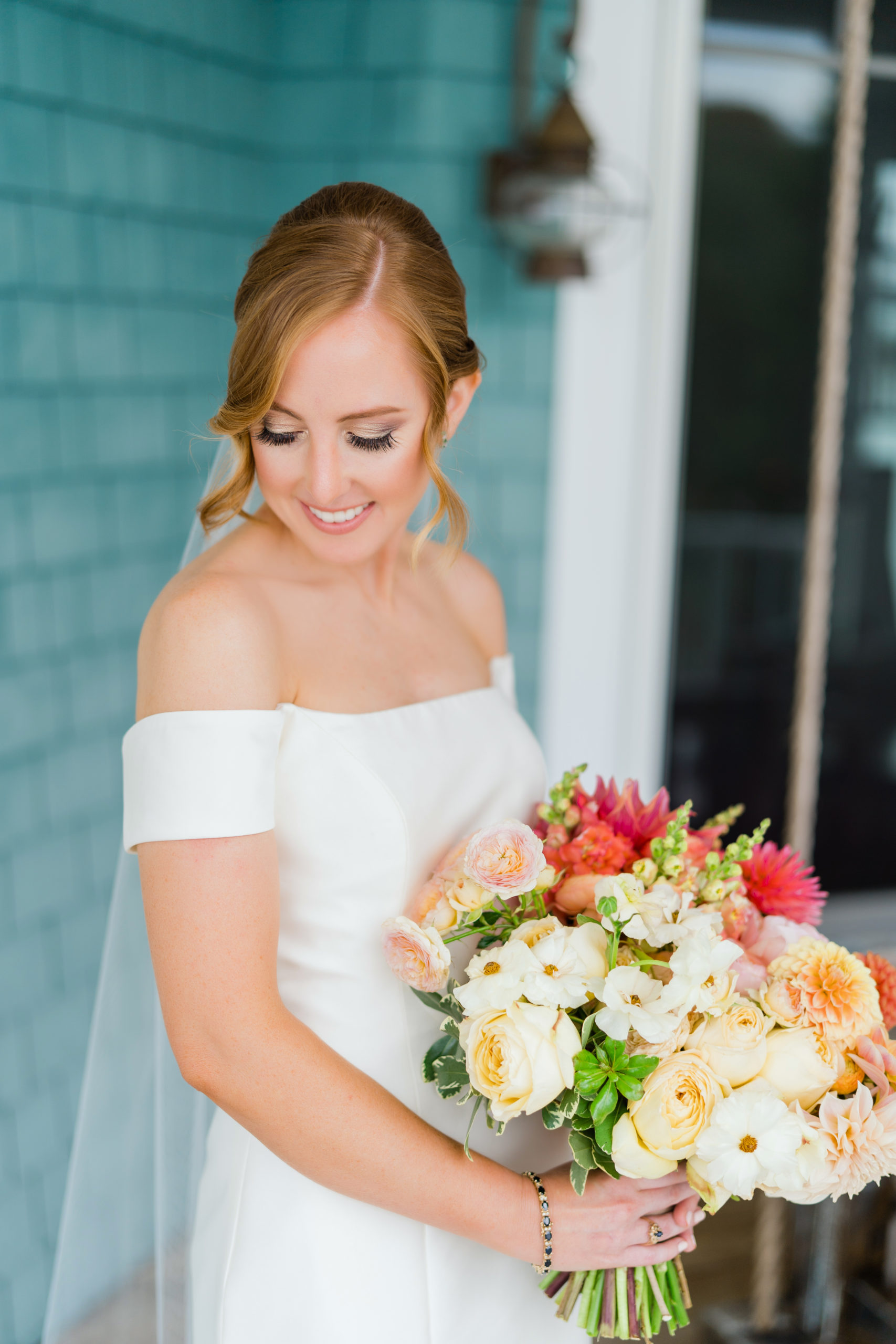 yellow peach coral bridal bouquet - Waterfront Wedding Southern Maryland Bellwether Events Kurstin Roe Photography Sugarplum Tent Co