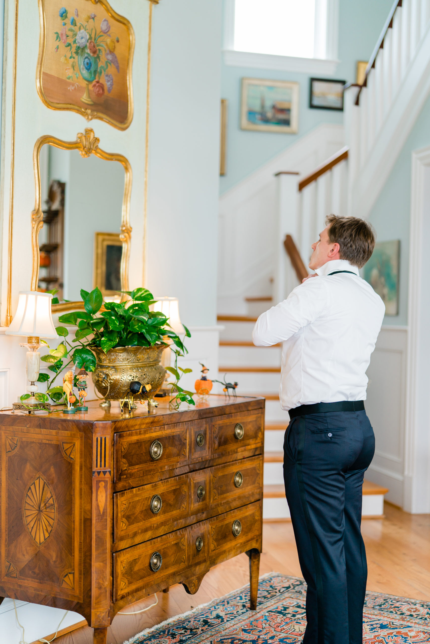 groom gets ready at home - Waterfront Wedding Southern Maryland Bellwether Events Kurstin Roe Photography Sugarplum Tent Co