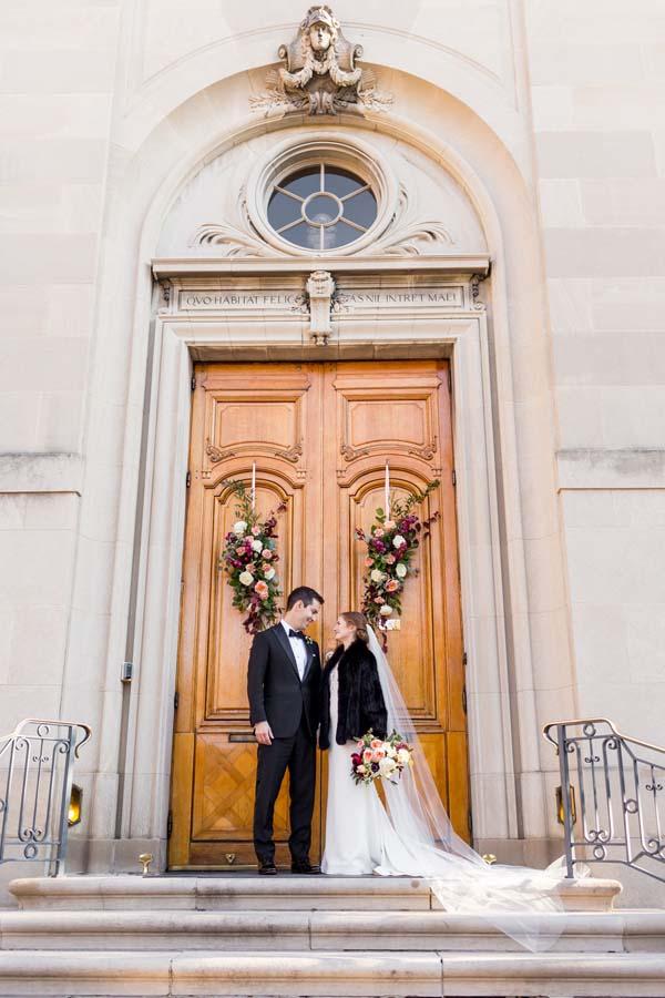 Meridian House DC wedding burgundy, dusty rose, emerald flowers