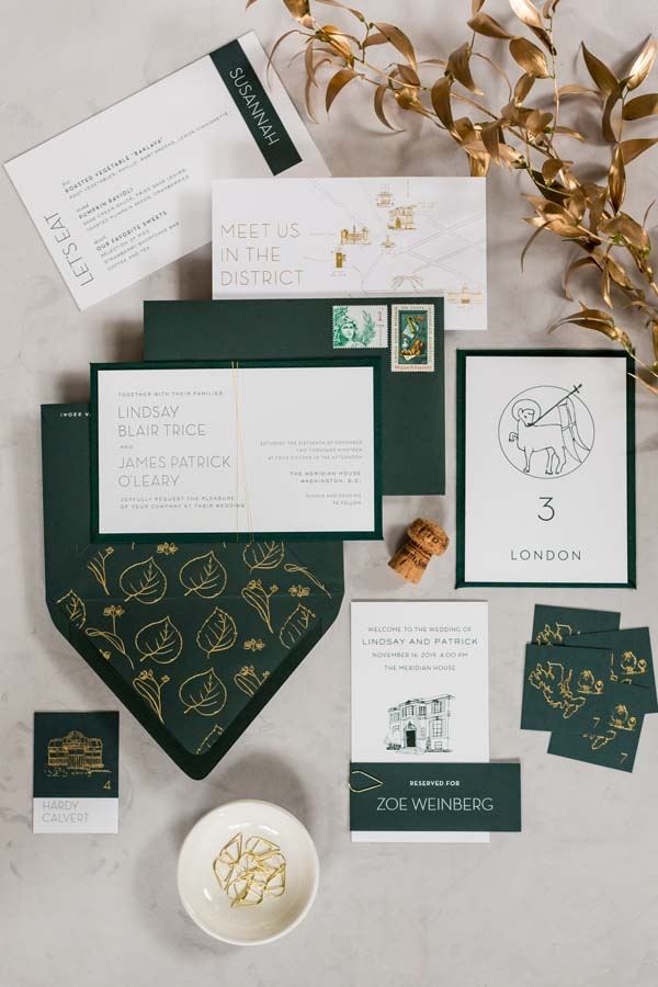 Meridian House DC wedding emerald and gold invitation