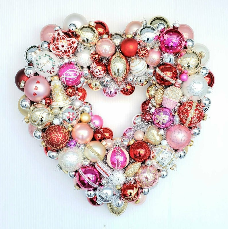 vintage ornament pink and red heart shaped Valentine's wreath
