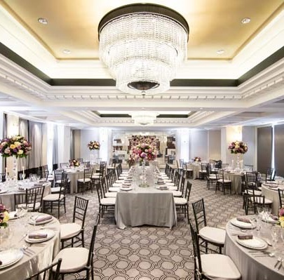 Green Hotel in DC: sofitel dc wedding inspiration - hotel ballroom - silver and lavender